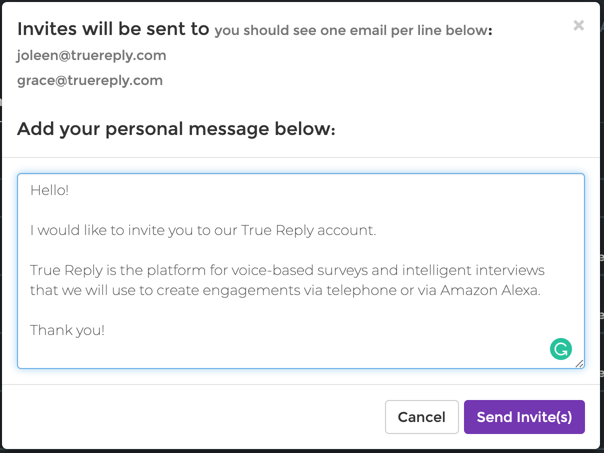 True Reply Voice Surveys Multi User Support in True Reply Enterprise