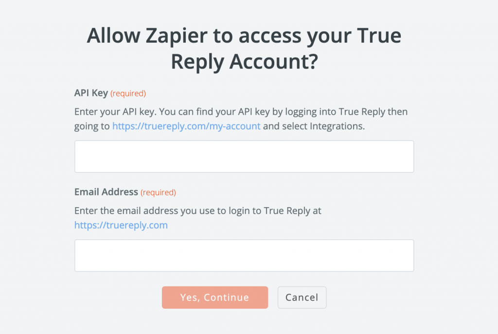 Link your True Reply account with Zapier and connect with over 2,000 applications
